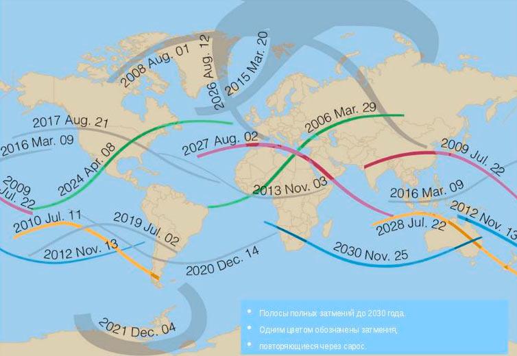 Схема полос некоторых солнечных затмений