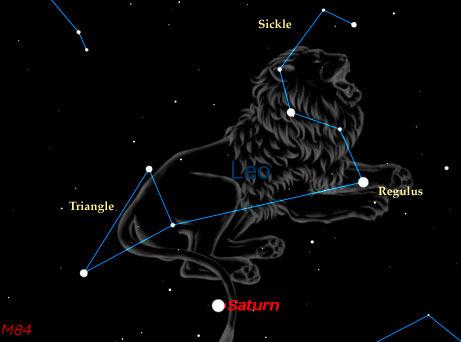 звезда Регул (сердце льва), в созвездии Льва