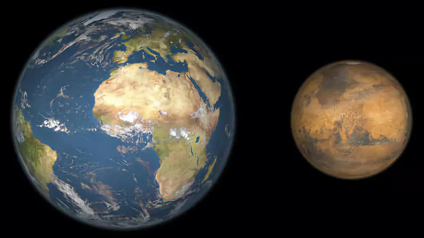 Размеры Марса по отношению к Земле