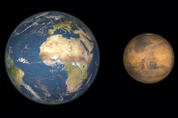 Размер Марса и Земли (сравнение планет)