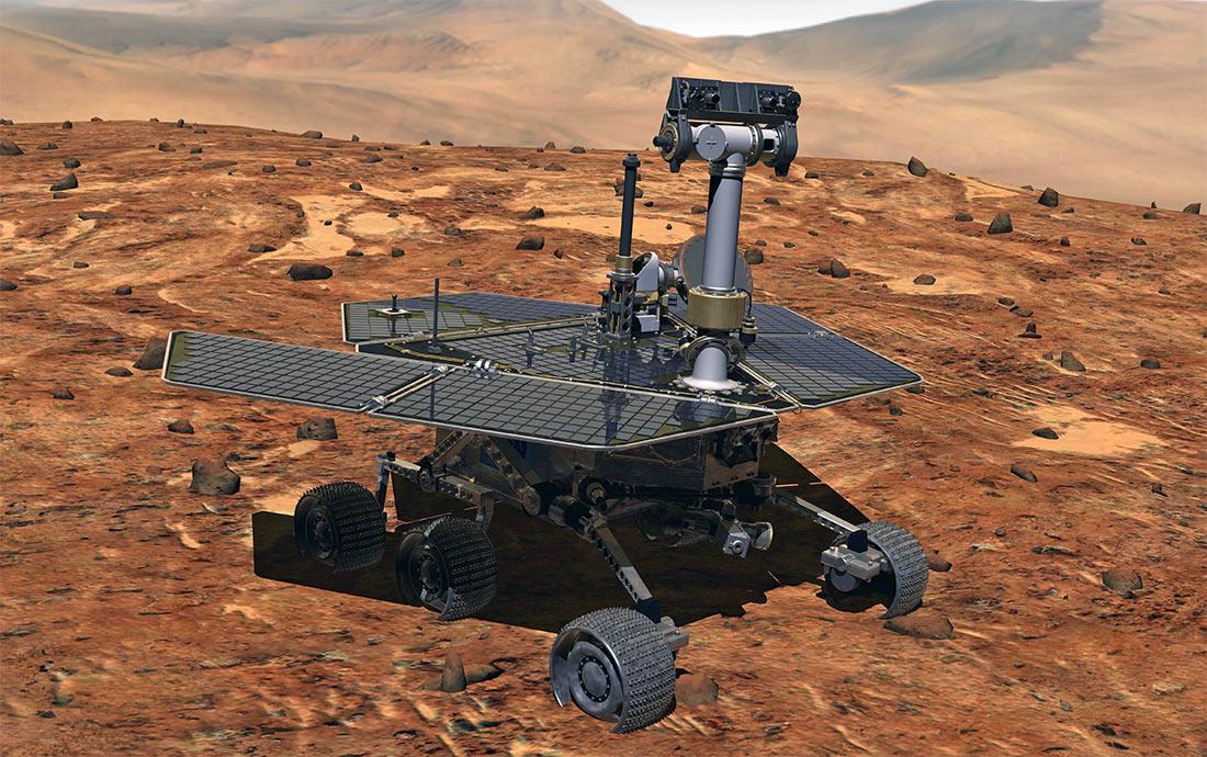 Марсоход «Оппортьюнити» среди типичного марсианского пейзажа