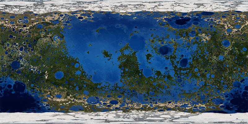 Как выглядела бы поверхность Луны, если бы имела атмосферу и силу гравитации наподобие земной