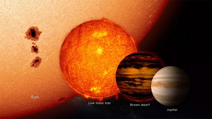 Визуальные различия между планетами (Юпитер, справа), коричневыми карликами (вторая справа) и самыми маленькими из «нормальных» звезд (третья справа). Всё это на фоне звезды типа нашего Солнца (слева), напоминаю, квалифицирующегося как «желтый карлик»