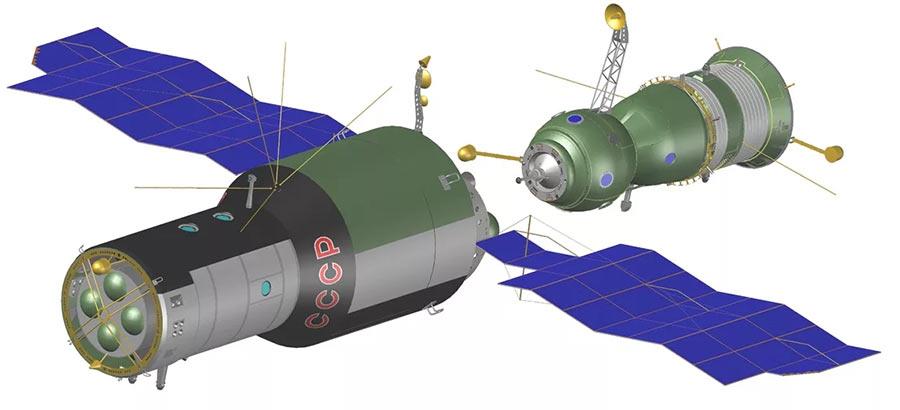 Стыковка орбитальной станции «Салют-3» (слева) и космического корабля «Союз-15» (справа)