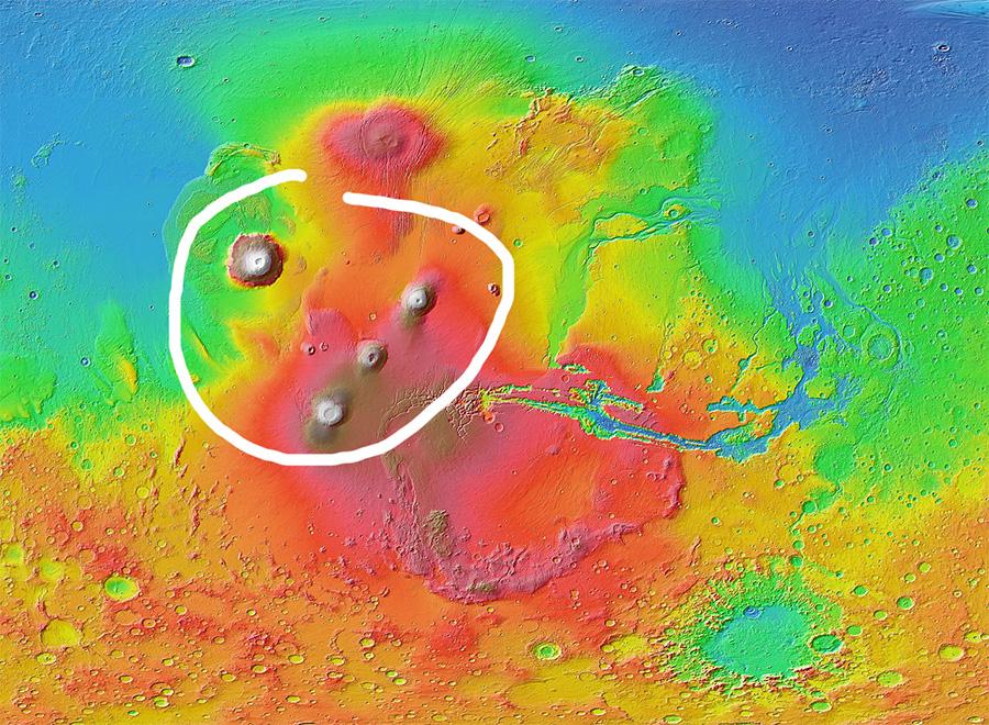 Крупнейшие марсианские вулканы сосредоточены в районе поднятия Фарсида