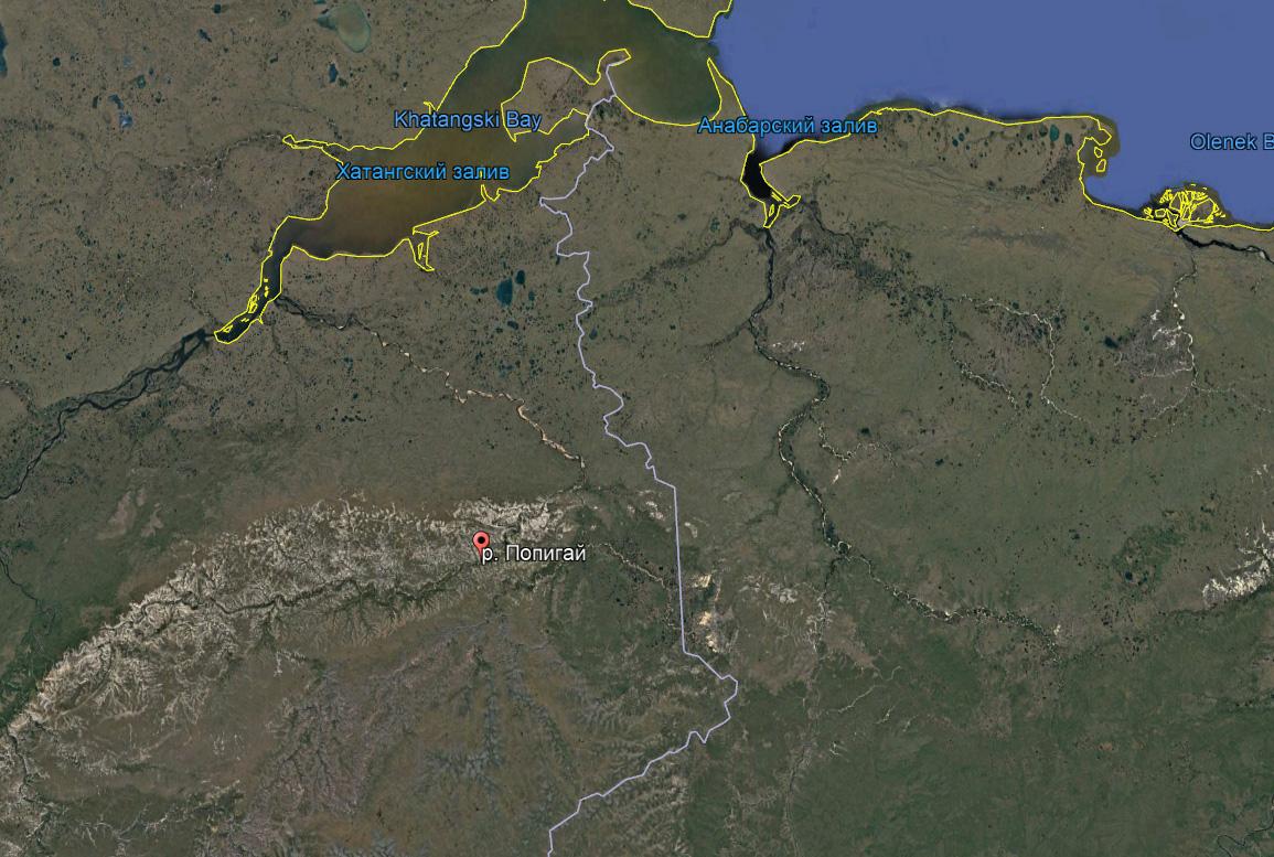На Земле время безжалостно к метеоритным кратерам. Попробуйте найти на этой карте знаменитый Попигайский кратер.