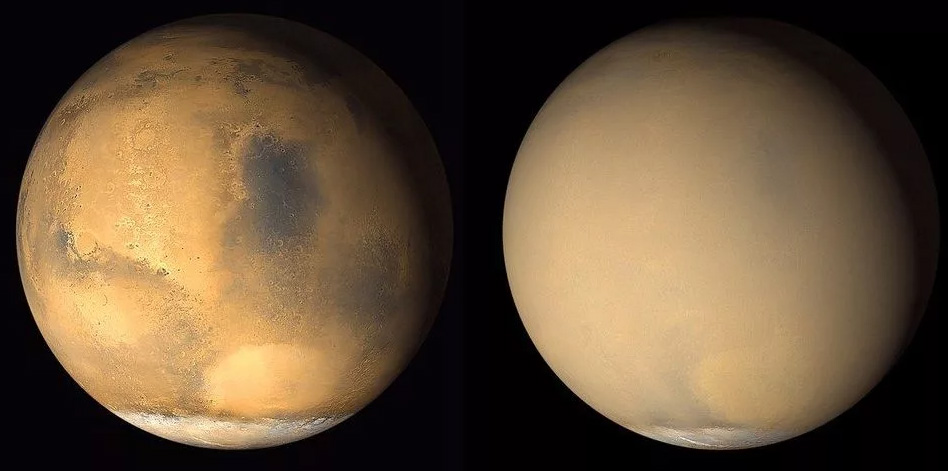 Марс при «хорошей погоде» (слева) и во время большой пыльной бури (справа)