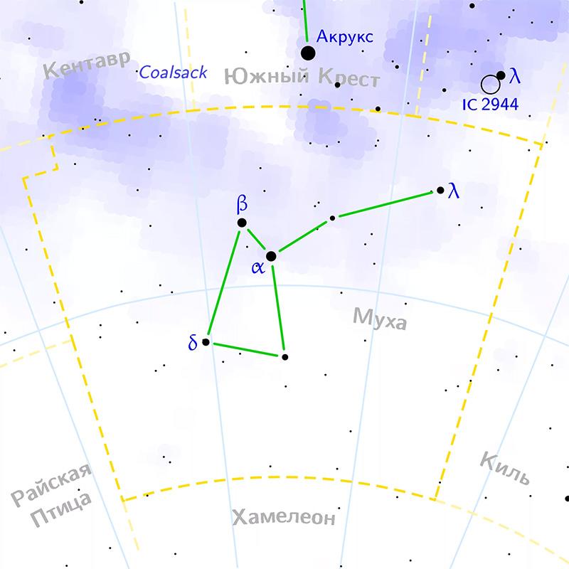 Область расположения созвездия Муха на небосклоне, а также границы этого созвездия