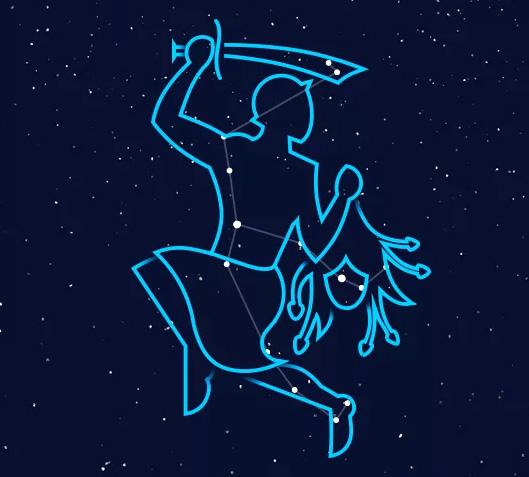 Фигура созвездия охотника (Персея), который держит в руках «голову медузы-горгоны» с глазами-звездами