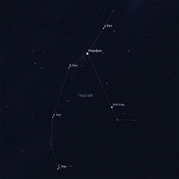 Схема расположения наиболее ярких звезд входящих в созвездие Персей