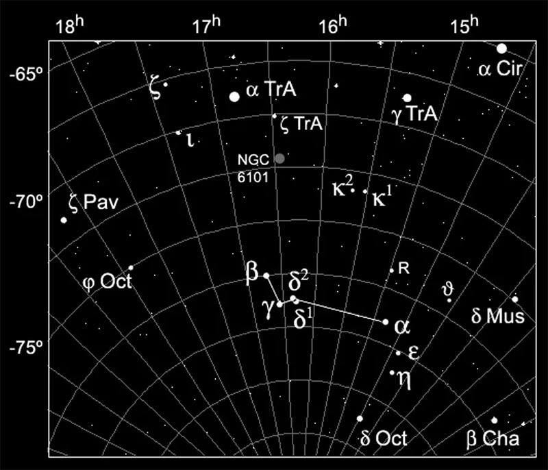 Южное созвездие Райская Птица на звездной карте
