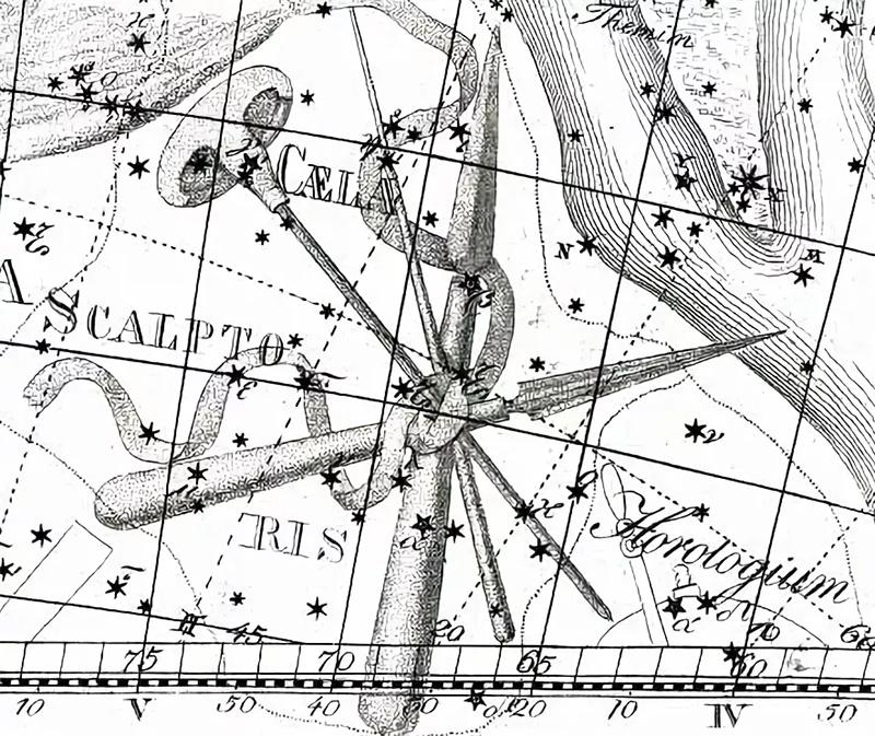 так созвездие Резец выглядит в атласе Уранография Яна Гевелия
