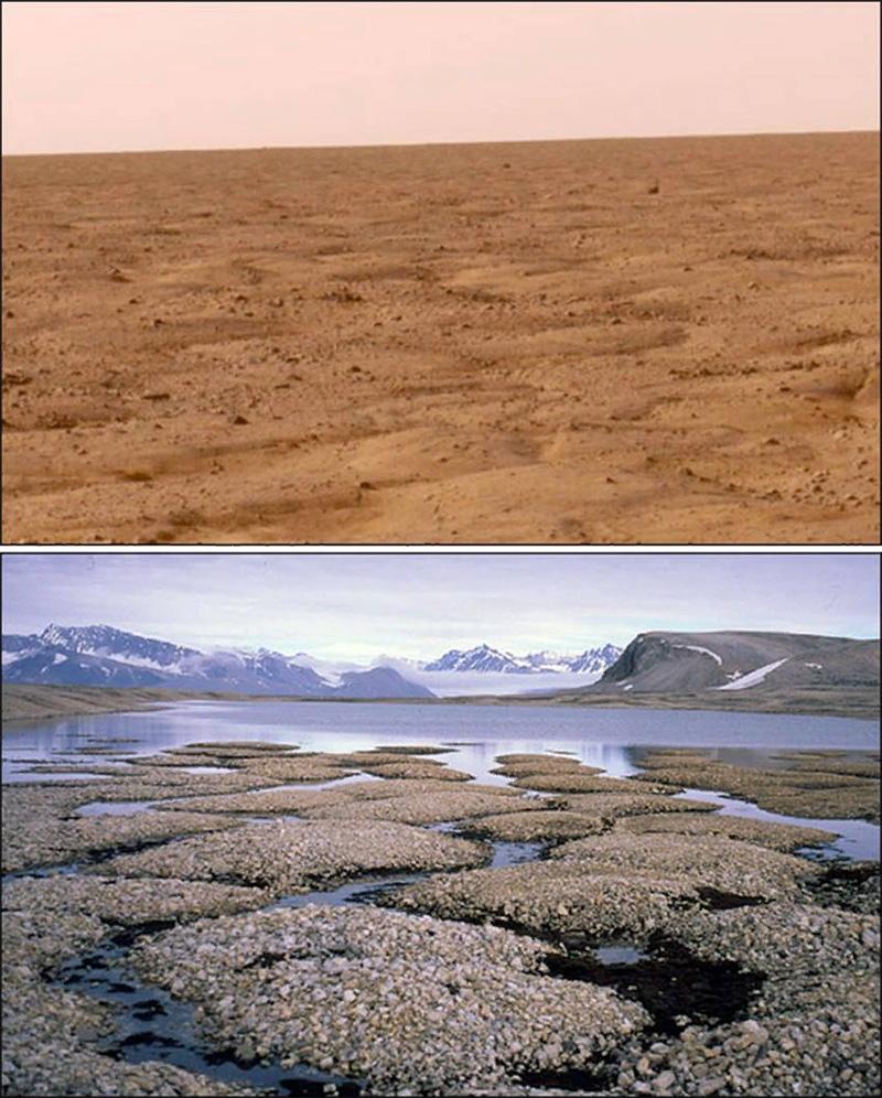 Вечная мерзлота на Марсе и особенности марсианского рельефа