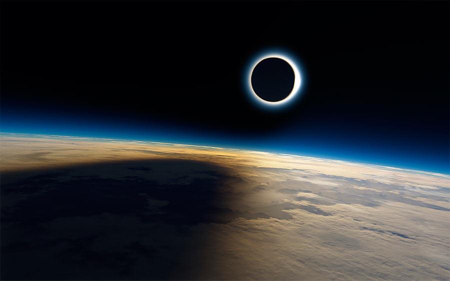 Солнечное затмение, взгляд из космоса
