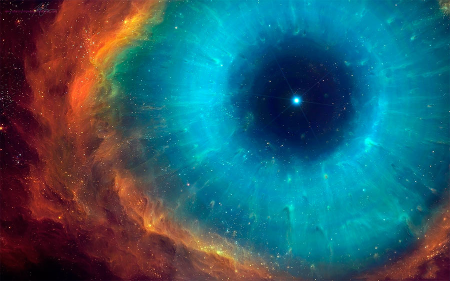 Сверхновая звезда после взрыва - все что осталось от былого величия, это маленькая звездочка в центре и громадная корона сброшенной газопылевой оболочки звезды