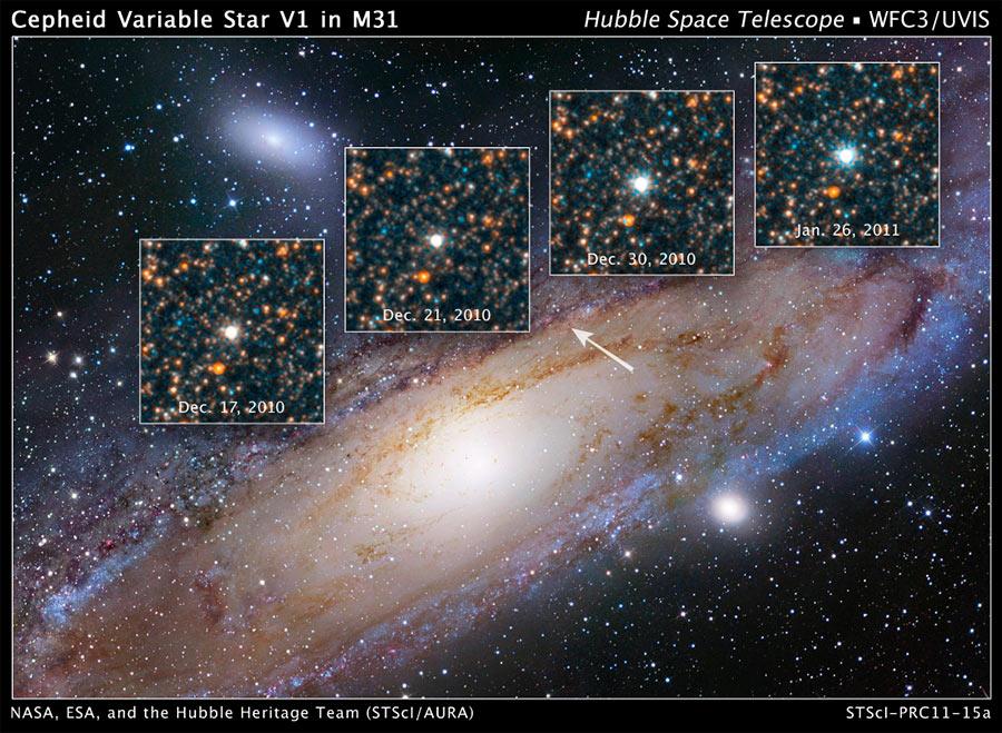 На снимках сделанных с промежутками во времени ясно заметно изменение яркости (пульсация) звезды V1 типа цефеид находящейся в спиральной галактике М31