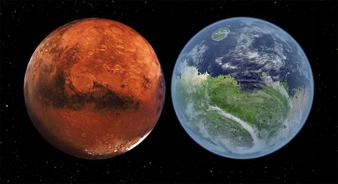 Марс в наши дни, и такой, каким (возможно) он был 3,5 миллиарда лет назад