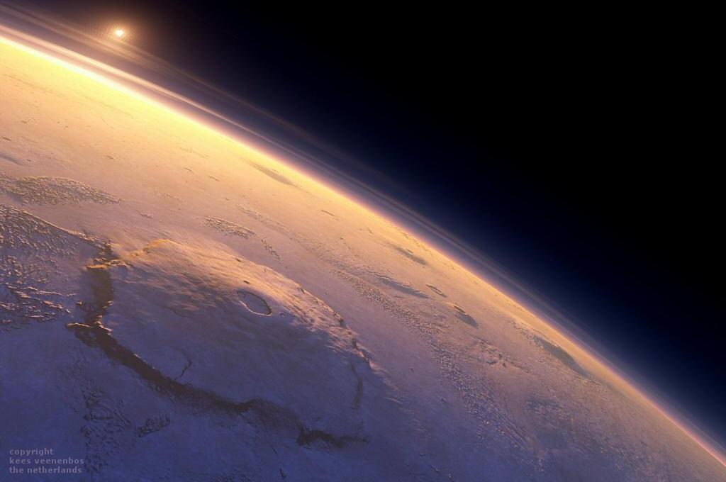 Гора Олимп - крупнейший вулкан Марса. на его вершине (27 км), состав атмосферы и её давление почти ничем не отличаются от открытого космоса