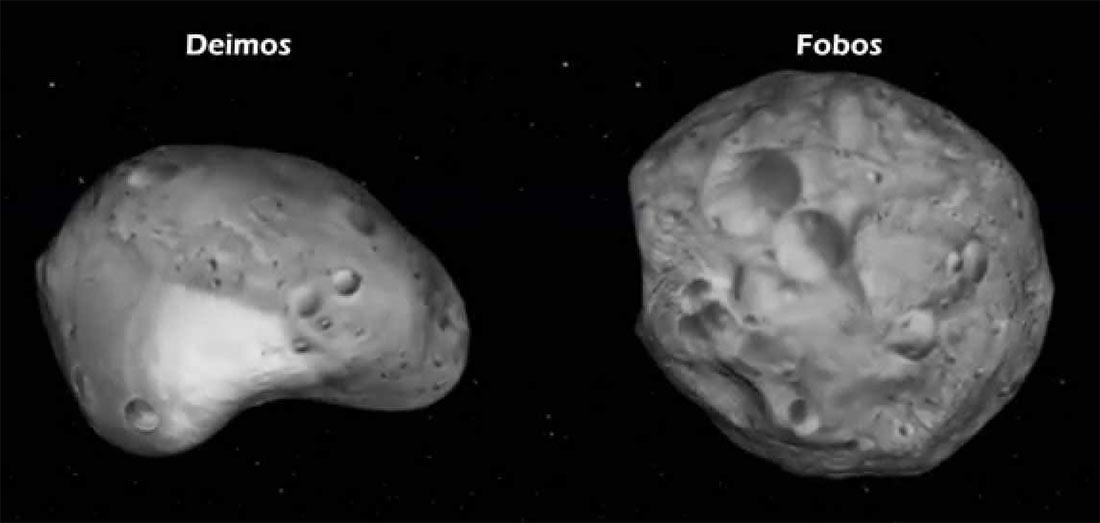 Спутники Марса - Фобос и Деймос. Обычные куски камня мало напоминающие нашу Луну