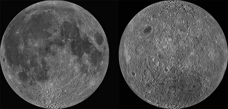 Видимая сторона Луны (слева) и обратная сторона Луны (справа)
