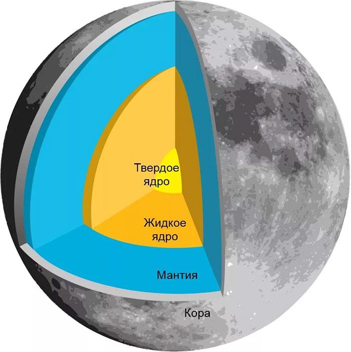 Внутреннее строение Луны принципиально почти не отличается от земного.