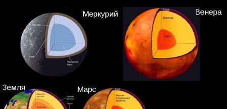 Внутреннее строение планет земной группы - Меркурия, Венеры, Земли и Марса
