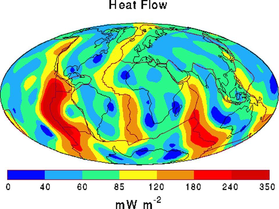 Тепловой поток Земли. Горячее всего в районе разломов земной коры, а холоднее - в районах древних материковых плит