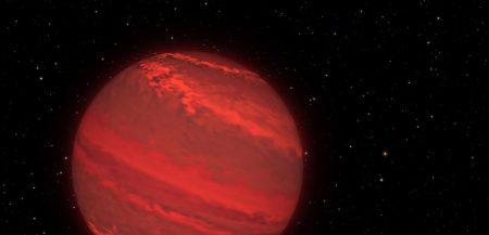 Экзопланета 2M1207b нарисованная по данным космического телескопа Хаббл.