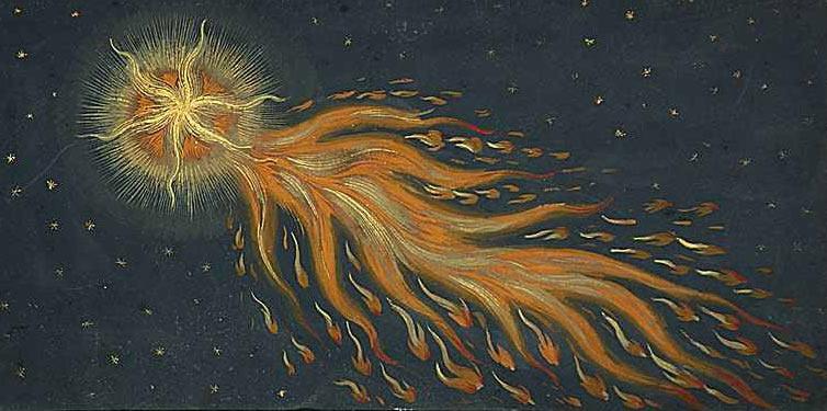 Изображение наблюдаемой кометы в Аугсбургской хронике, 1552 г.