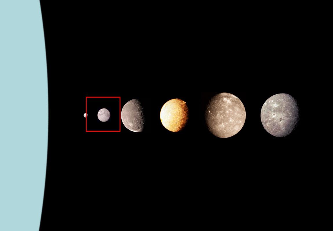 Крупнейшие спутники Урана: Пак, Миранда (выделена красным), Ариэль, Умбриэль, Титания, Оберон