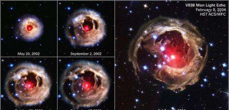 Сброс оболочки звезды. За счет резкого увеличения размеров отражающего свет пятна, видимая яркость звезды также резко возрастает