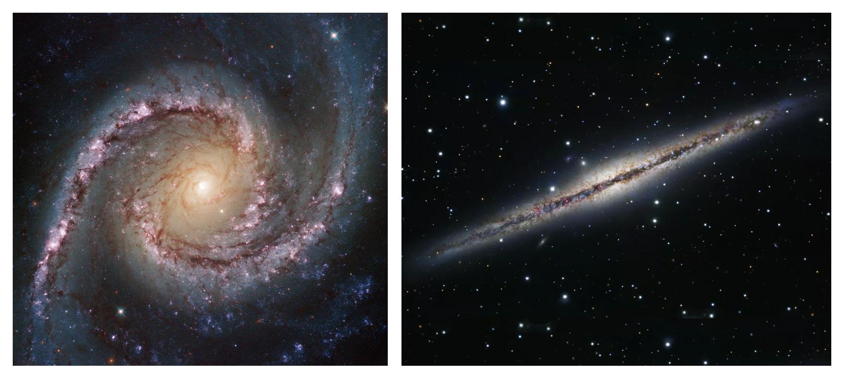 Если смотреть на галактику «сверху», она напоминает спираль, а если «сбоку» - линзу. Попробуйте понять это без космического телескопа Хаббл! Гершель в свое время смог.