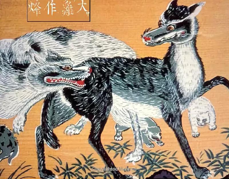 Волки Хонсю на старинной японской гравюре
