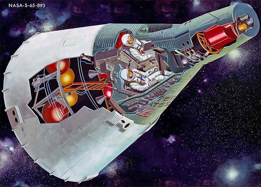 Внутреннее устройство космического корабля «Джемини».
