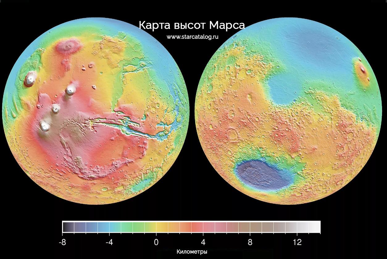 Карта высот поверхности Марса - моря материки марса