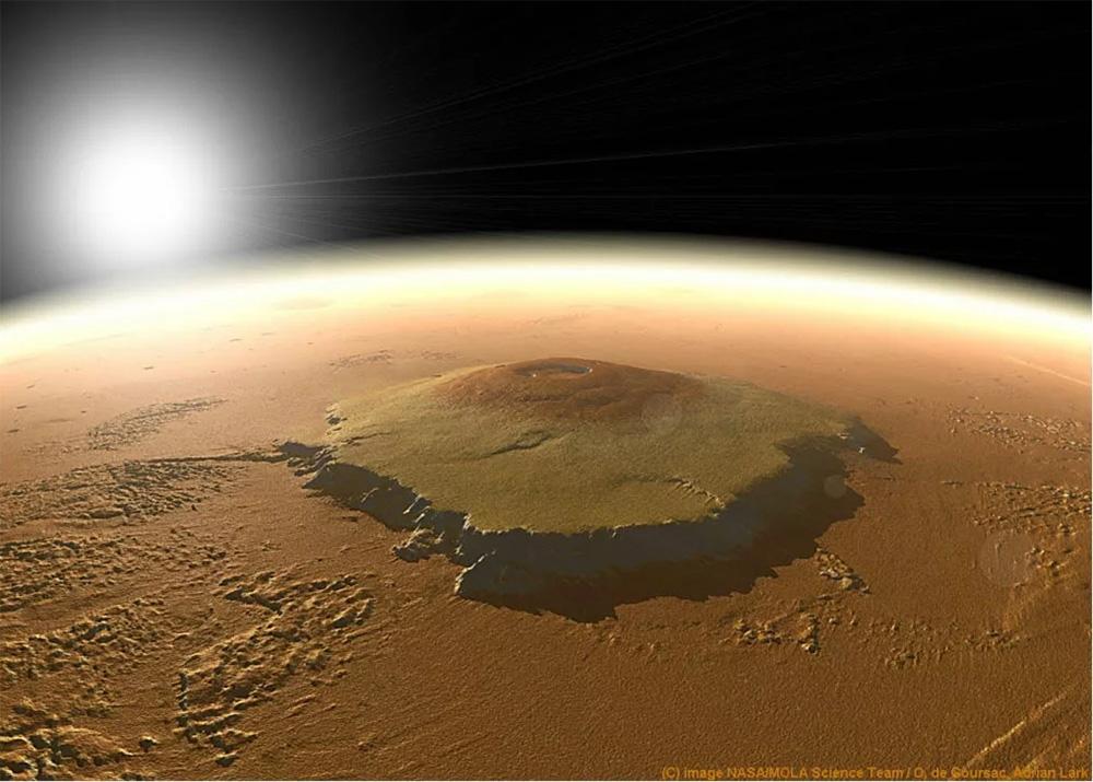 Щитовой вулкан гора Олимп на Марсе. Грандиознейший вулкан в Солнечной системе