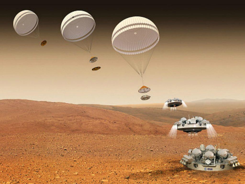 этапы посадки спускаемого аппарата миссии «Скиапарелли» на поверхность Марса