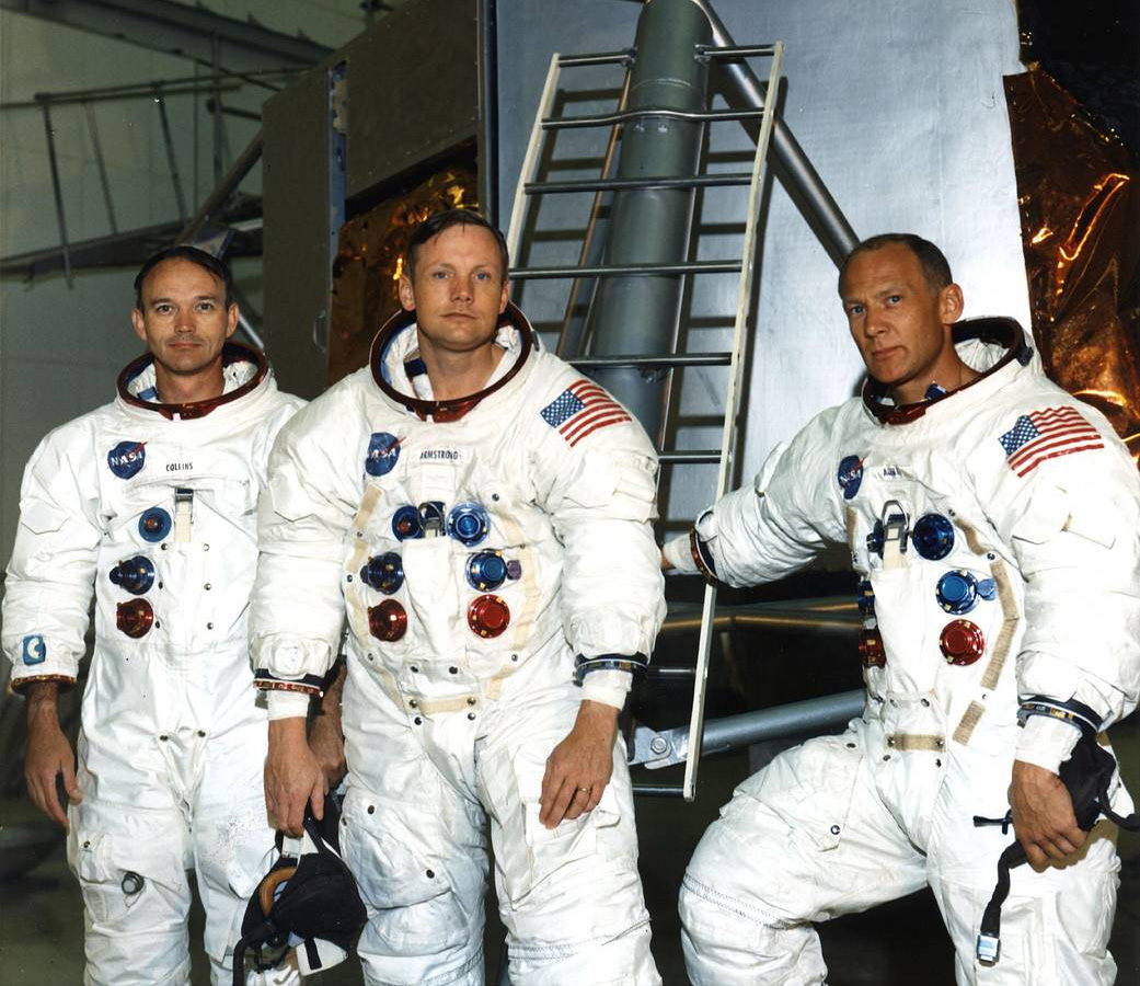 Экипаж космического корабля «Аполлон-11»: Майкл Коллинз, Эдвин Олдрин, Нил Армстронг