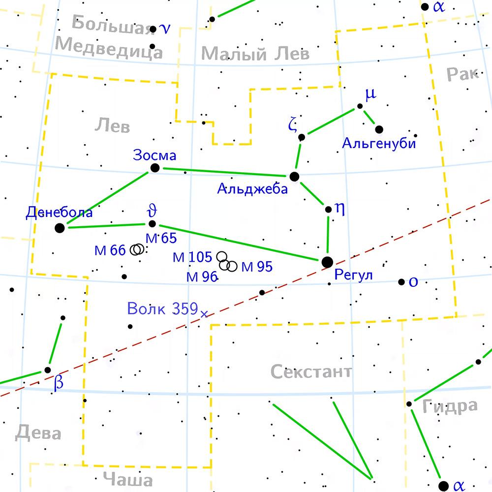 Созвездие лев на звездном небе найти не сложно - и звезды в нем яркие и соседи приметные