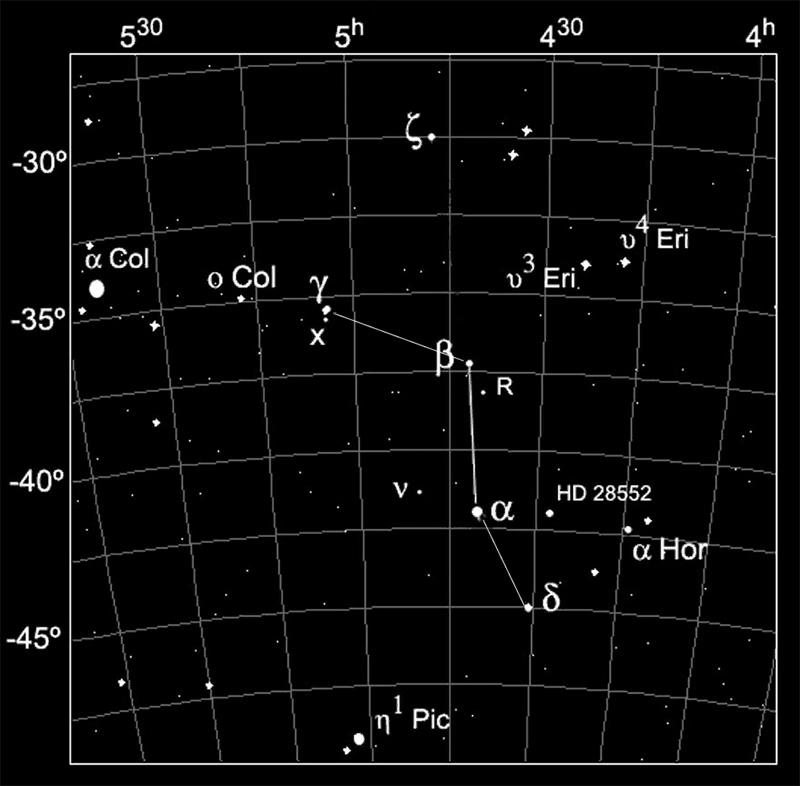 Южное созвездие Резец (Caelum) на звездной карте