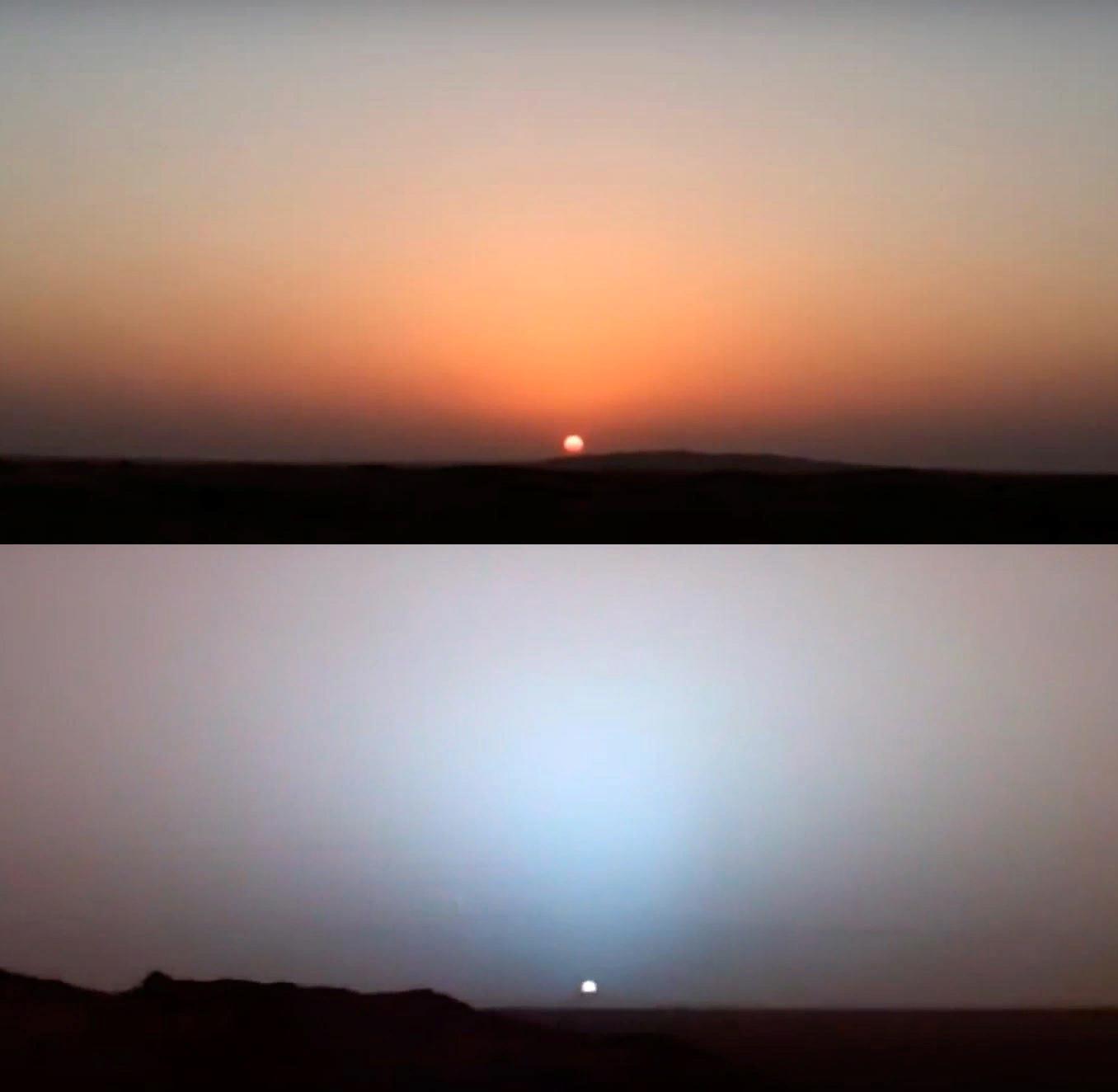 Закат на Земле (сверху) и закат на Марсе (снизу).