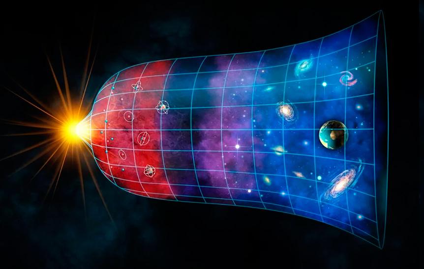 Иллюстрация механизма «Большого Взрыва» - рождение «горячей» и «однородной» Вселенной, её постепенное остывание и формирование галактик и звезд
