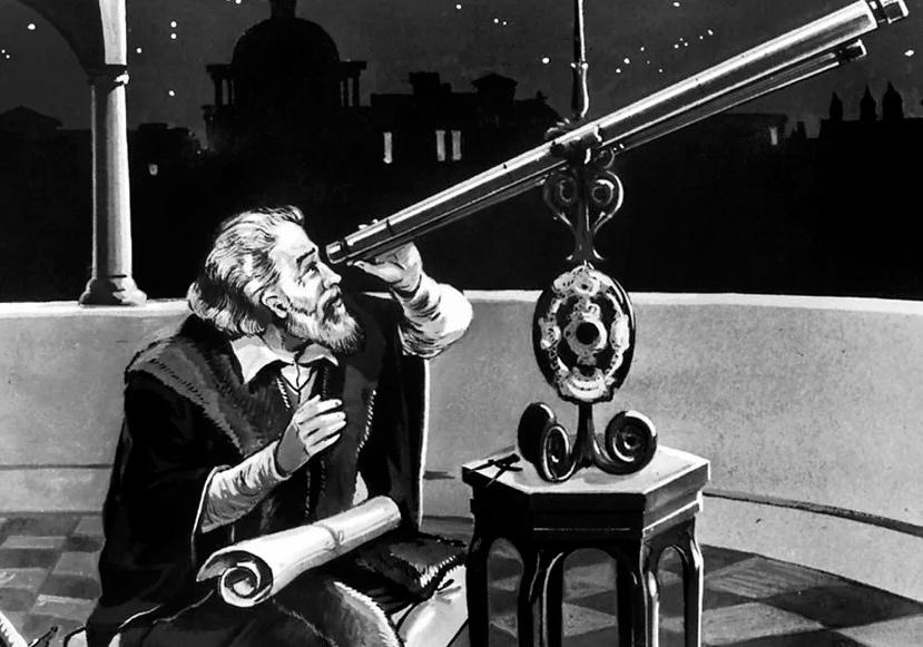 Галилео Галилей наблюдает в свой телескоп космические объекты