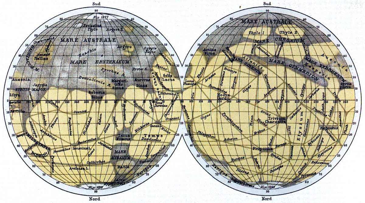 Карта марсианских каналов нарисованная Джованни Скиапарелли