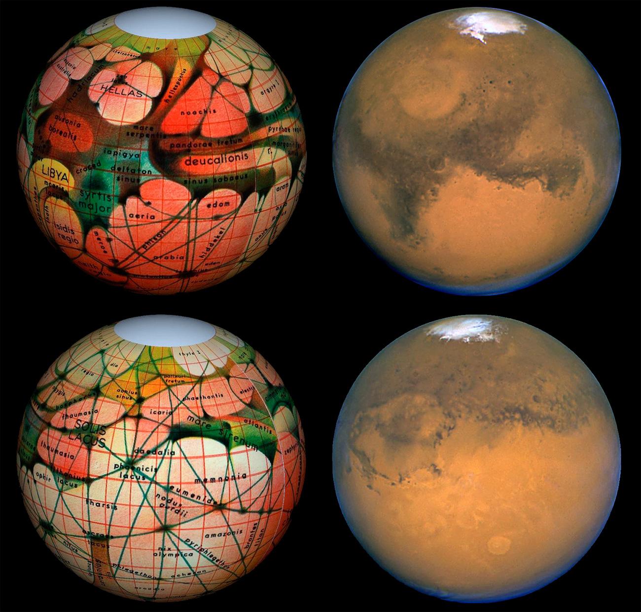 Сопоставление карты марсианских каналов и реального марсианского рельефа