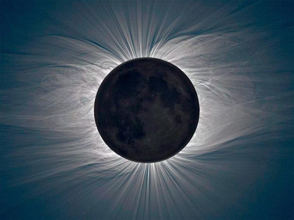Солнечная корона, снимок сделан опять же во время полного солнечного затмения