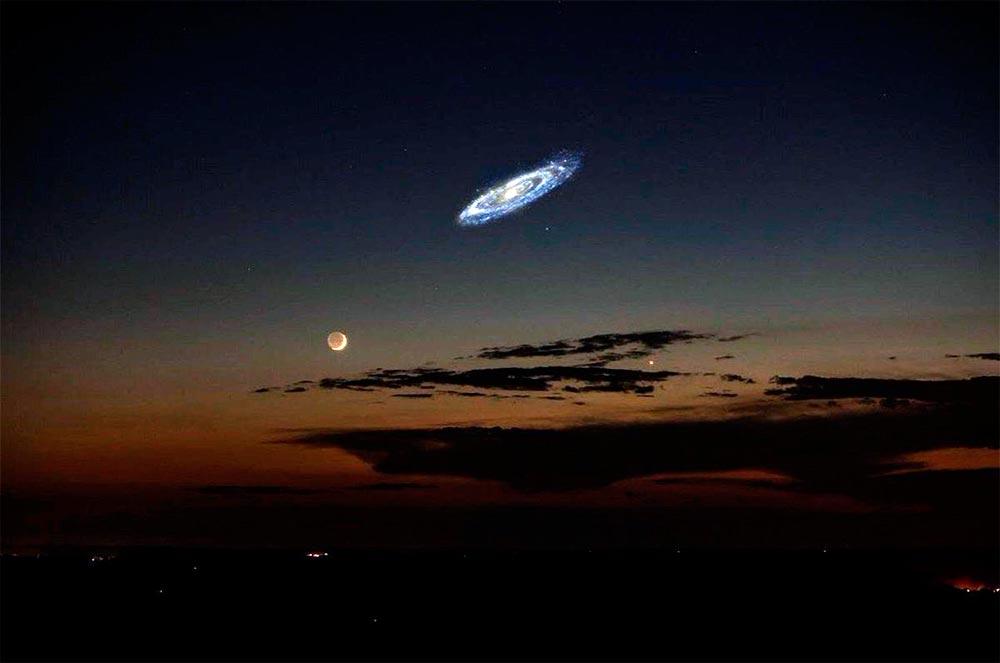 Примерно так смотрелась бы M31 на небе, если бы наши глаза имели светочувствительность, на уровне микрофотометра