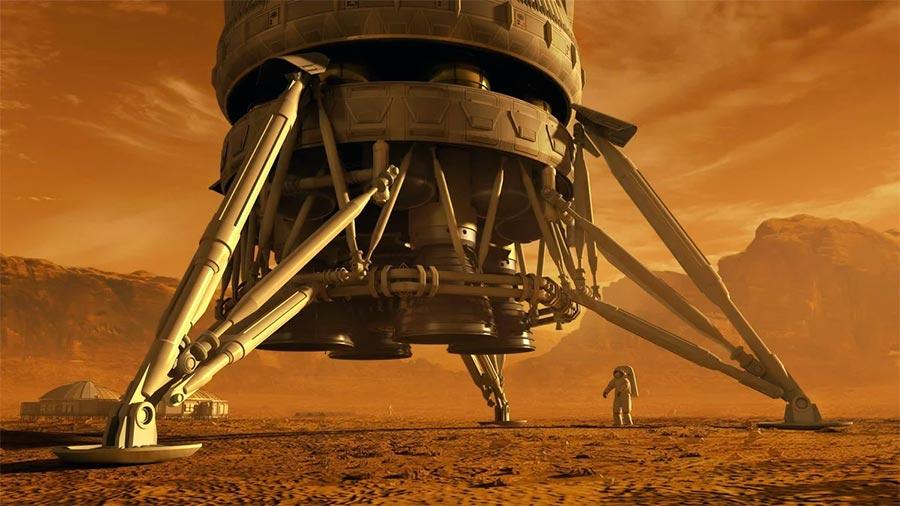 В фантазиях художника, так выглядит первый человек ступивший на Марс. В отличие от фантазий, на реальном Марсе вовсе не так красно.