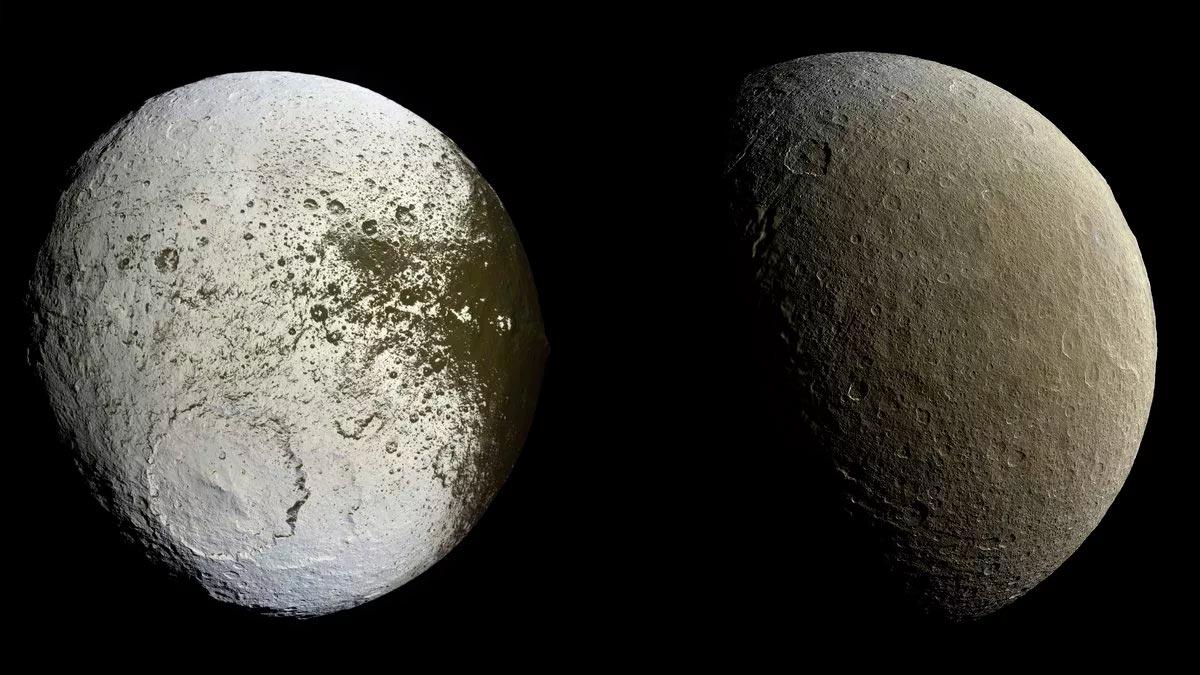 Два полушария Япета, будто бы принадлежат разным планетоидам. Разница в яркости между ними достигает 10 крат