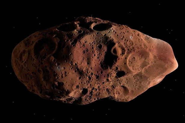 Моделирование того, как спутник Альматея выглядел бы, находись он в прямой видимости